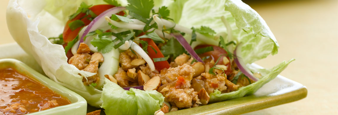 Lettuce tacos with natural sliced almonds