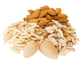 Various forms of almonds