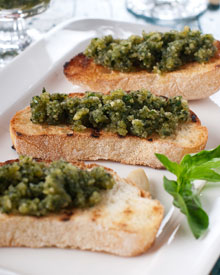 Almond pesto on toasted bread.