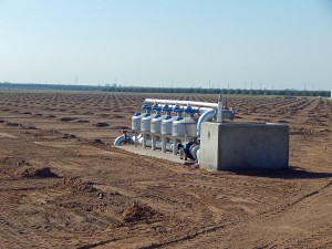 A future almond orchard prepared for planting  with the irrigation system installed and operational. In this particular case, the water is drawn from a local irrigation district through the concrete structure on the right, pressurized, filtered and distributed to the trees.