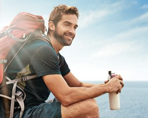 Hiker with protein shake