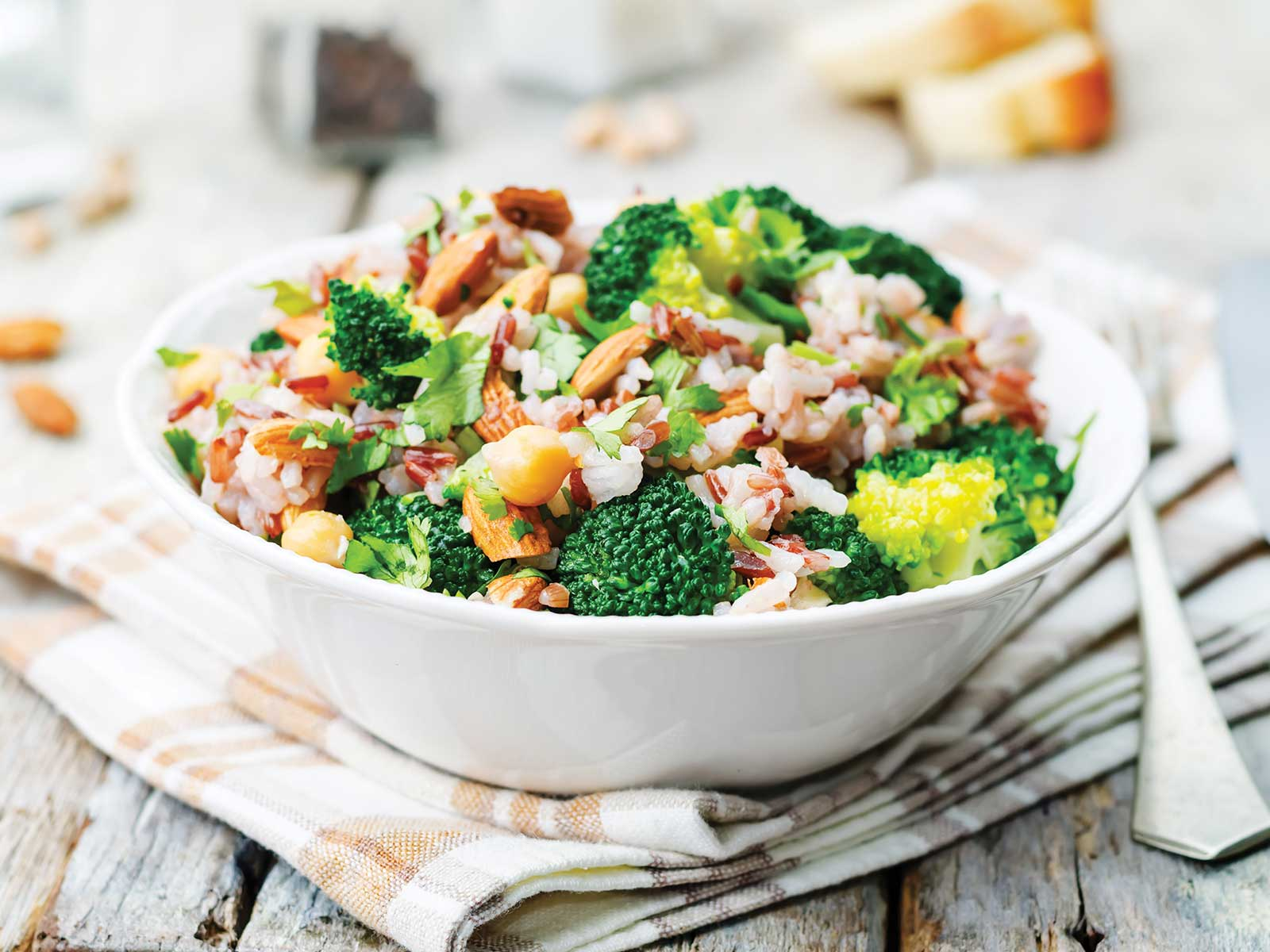 Broccoli chickpea bowl topped with almonds