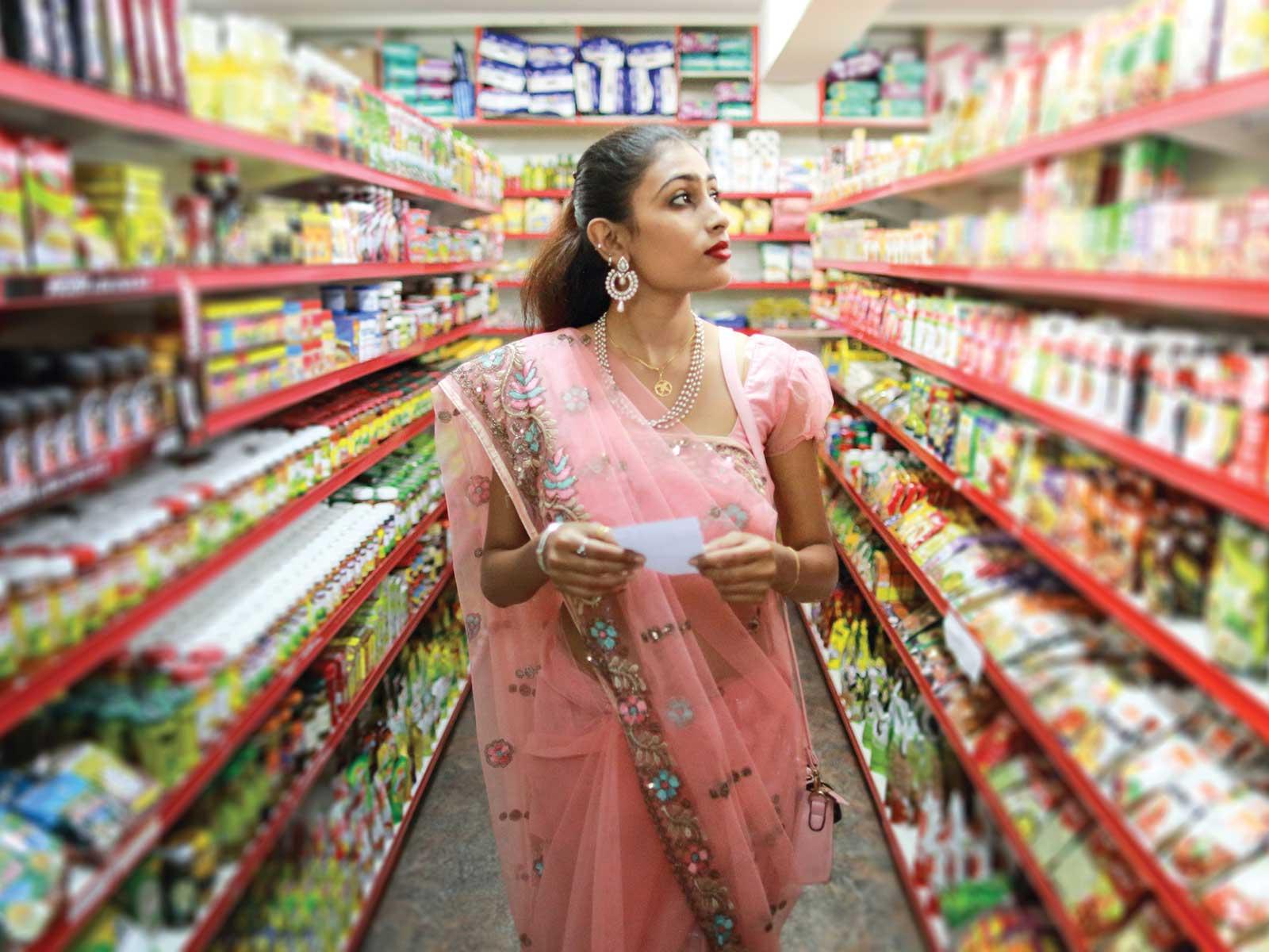 Woman in market shopping